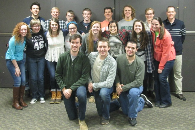 Back Row (Left to Right): Matt Kalustian, Graham Ortmann, Benjamin Newhall, Matthew Parks, Caleb Beaverson, Wilson Alexander, Joel Kiers, Ken Kiers Middle Row (Left to Right): Taylor Eddy, Sarah Wehlage, Lauren Moreland, Morgan Storrer, Jennifer Cline, Quynn Foster, Miranda Brookshire, Kayla Cross,  Front Row (Left to Right): Philip Warman, David Neel, Abram Stamper
