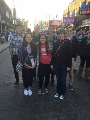 Some team members hanging out on Beale Street
