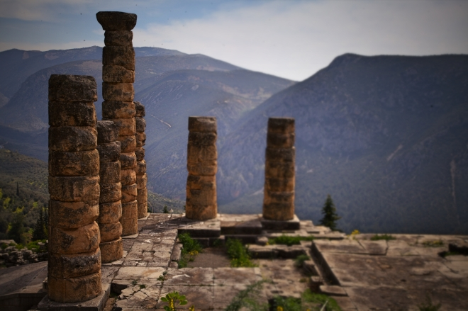 Only a few ruined columns remain of the temple in Delphi.